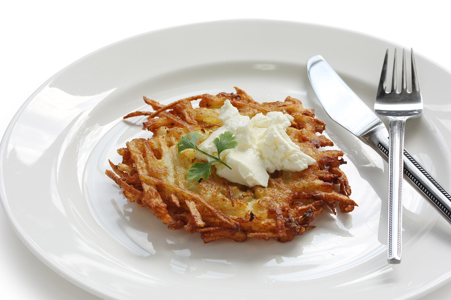 Cheesy Latkes with Herbed Sour Cream